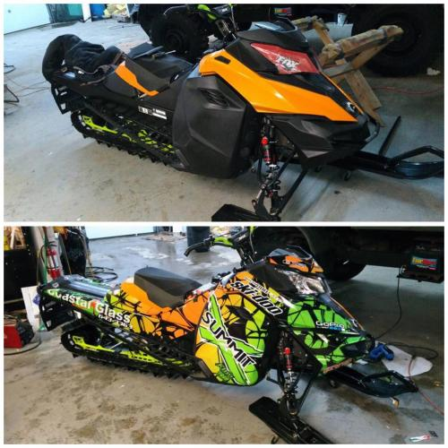 A Skidoo wrap - before and after