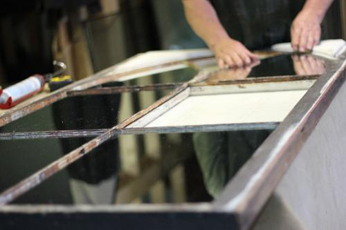We are ready and equipped to take on custom glass/mirror restoration projects. If visiting us locally, you can often see us working on a unique piece for a customer.