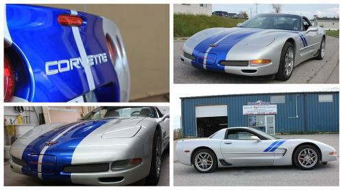 """Racing stripes on a gorgeous silver 2002 Z06 """"King of the Hill"""" Corvette."""